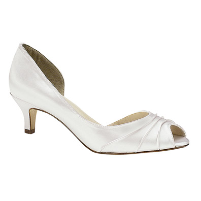 Abby Dyeable White Low Heel Bridal Shoes