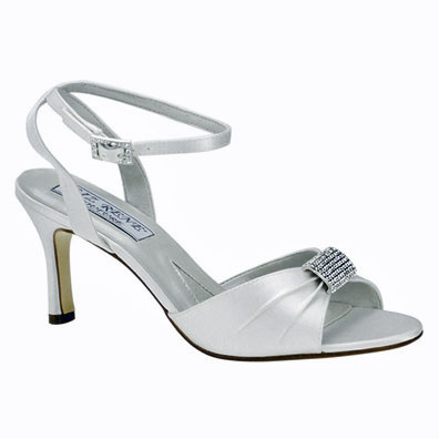 Audrey Dyeable White Mid Heel Bridal Shoes