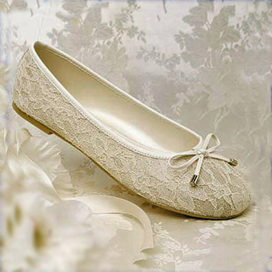 Glamour Ballet Flat Heel Ivory Bridal Shoes
